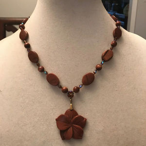 Gold Stone & Crystal Flower Necklace-New-handmade